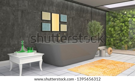 Bathroom interior. 3D illustration. Bath #1395656312