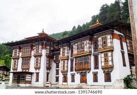 Kurje Lhakhang at Bumthang Bhutan. A grand palace for the royal family of Bhutan to satay in Bumthang.