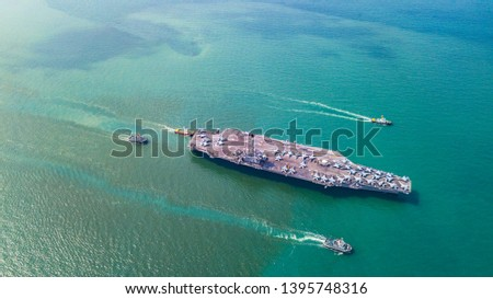 Top View Aircraft Carrier warship battleship In the ocean #1395748316