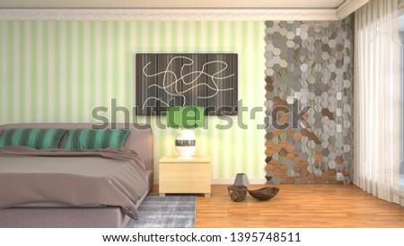Bedroom interior. 3d illustration. Bed #1395748511