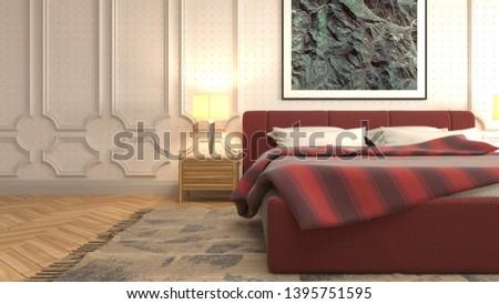 Bedroom interior. 3d illustration. Bed #1395751595