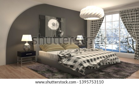 Bedroom interior. 3d illustration. Bed #1395753110