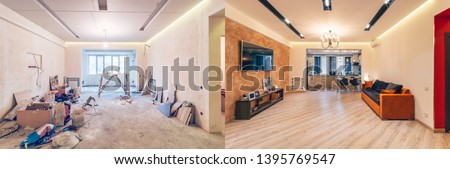 Modern interior design of big living-kitchen studio room, before and after #1395769547