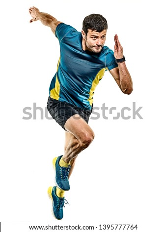 one caucasian handsome mature man running runner jogging jogger isolated on white background #1395777764