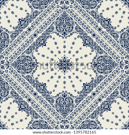 Seamless pattern based on ornament paisley Bandana Print. Vector ornament paisley Bandana Print. Silk neck scarf or kerchief square pattern design style, best motive for print on fabric or papper. #1395782165
