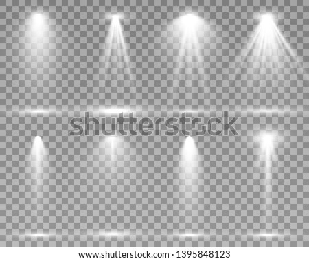 Searchlight collection for stage lighting, light transparent effects. Bright beautiful lighting with spotlights. #1395848123