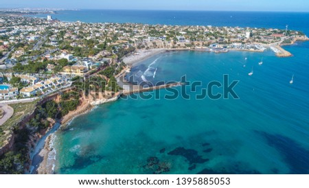 air view of yacht and marine in blue sea  #1395885053