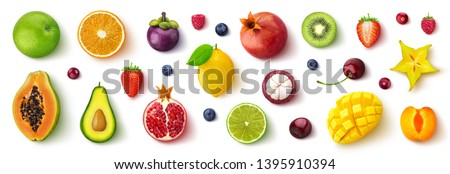 Assortment of different fruits and berries, flat lay, top view, apple, strawberry, pomegranate, mango, avocado, orange, lemon, kiwi, peach isolated on white background #1395910394