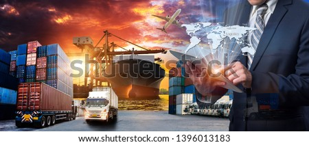 World map with logistic network distribution on background. Logistic and transport concept in front Container Cargo freight ship for Concept of fast or instant shipping, Online goods orders worldwide #1396013183