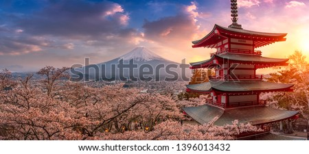 Fujiyoshida, Japan Beautiful view of mountain Fuji and Chureito pagoda at sunset, japan in the spring with cherry blossoms #1396013432