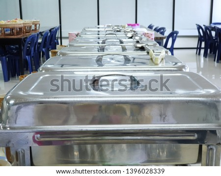 Catering food for dinner party or another catered event in restaurant, metal kitchen equipment #1396028339
