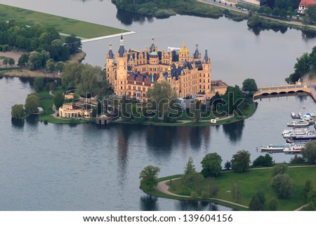 castle of schwerin in Mecklenburg-Western Pomerania , germany, aerial view from balloon Royalty-Free Stock Photo #139604156