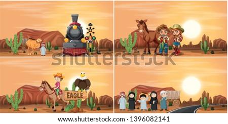 Set of desert scene illustartion #1396082141