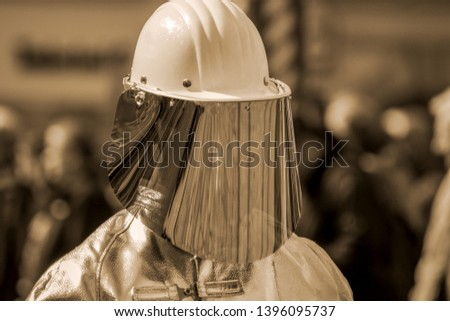 Steel worker with protective equipment #1396095737