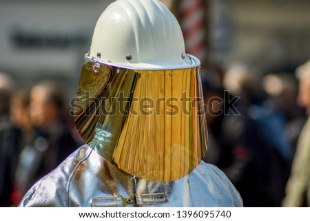 Steel worker with protective equipment #1396095740