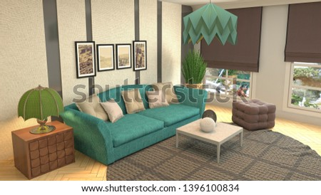 Interior of the living room. 3D illustration #1396100834