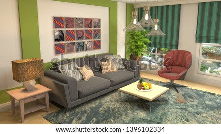 Interior of the living room. 3D illustration #1396102334