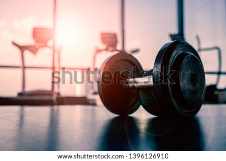 Dumbbell in luxury clubhouse wait for exercise in the morning #1396126910