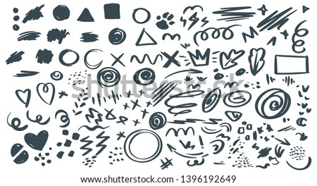 Abstract hand drawn vector symbols set. Hearts, circles, triangles doodles pack. Geometric shapes and marker scribbles. Ink, pencil, brush smears. Spot, cross, arrow, leaf chaotic decorative sketches #1396192649