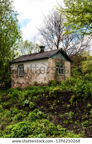 old abandoned house among the thickets of greenery #1396210268