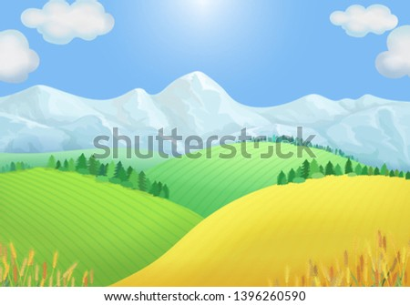 Summer landscape view of green meadows, mountains #1396260590
