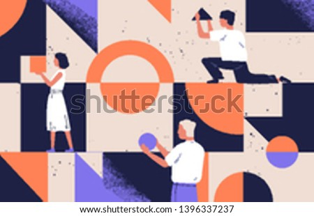 Group of people arranging abstract geometric shapes. Men and women holding figures - circle, square, triangle. Concept of organization and arrangement. Modern flat cartoon vector illustration. #1396337237