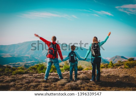 happy family-mom, dad and son-travel in nature #1396339547