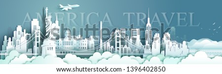 Travel panorama view landmarks United States of America famous monument architecture skyline, Tour landmark to golden gate bridge and statue of liberty, Traveling architecture sculpture world, Vector. #1396402850