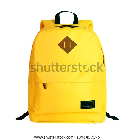 Yellow Casual Backpack Isolated on White Background. Travel Daypack with Zippered Compartment. Satchel Rucksack. Canvas School Backpack. Bag Front View with Shoulder Straps Royalty-Free Stock Photo #1396459196