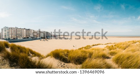 Beautiful panoramic of Zeebrugge beach with sand dunes and hotel buildings on a scenic sunny day with blue sky, Flanders, Belgium #1396469096