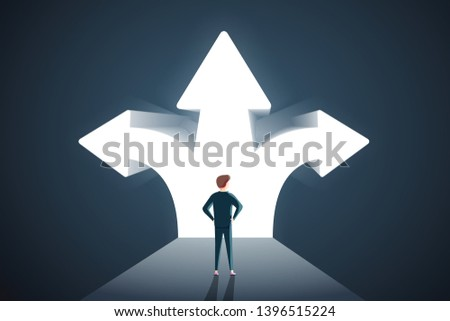 Business decisions concept. Perplexed businessman with question mark standing in front of arrows crossroads making a right choice. Career path and strategy. Hard choice, business strategy #1396515224