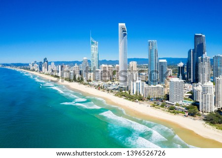 Sunny view of Surfers Paradise on the Gold Coast looking from the North, QLD, Australia #1396526726