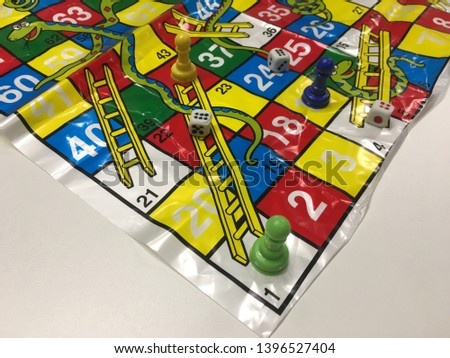 Close up of snakes and ladders game children playground. Bangkok, Thailand 13 May 2019 #1396527404