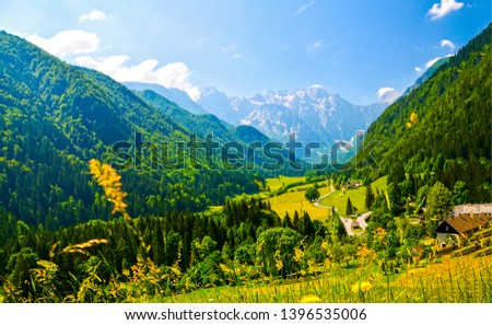 Mountain valley village summer landscape. Summer mountain valley village view. Village in mountain valley. Mountain village valley #1396535006