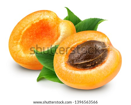 Apricot isolated on white background. Apricot Clipping Path. Fresh apricot fruits. Fresh half apricot fruits isolated on white background #1396563566