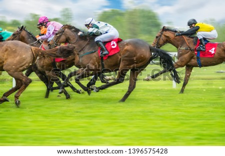 Horse racing outdoor derby with jockeys heading to finish line. Outdoor sport and competition. #1396575428