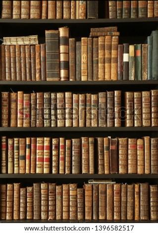 old books on wooden shelf #1396582517
