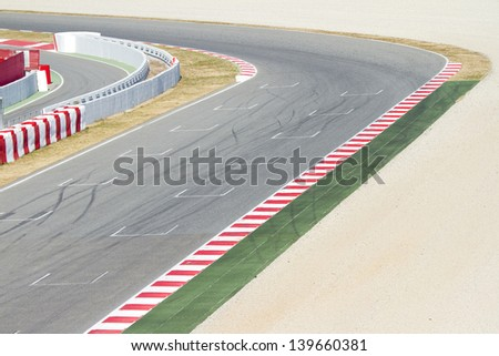 BARCELONA - FEBRUARY 24:  View of a curve of Circuit the Catalunya during Free Test Days, on February 24, 2012, in Barcelona, Spain. #139660381