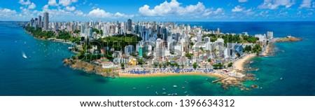 Beautiful Aerial Drone Panorama Drone View of Salvador Bahia Brazil #1396634312