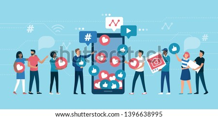 Increase your social media followers with successful marketing strategies: people bringing likes and reactions to a social media profile on a smartphone Royalty-Free Stock Photo #1396638995