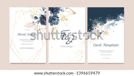 Set of card with flower rose, leaves. Wedding navy blue and gold concept. Floral poster, invite. Vector decorative greeting card or invitation design background Royalty-Free Stock Photo #1396659479