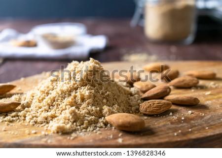 Vegan Parmesan with almonds, nutritional yeast, garlic powder and sea salt. Vegan diet, paleo diet, blood type diet. Food photography #1396828346