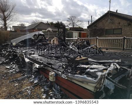 burnt down building fire caravan static caravan  #1396835543