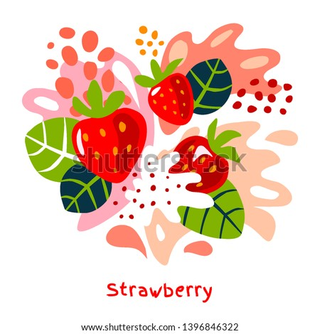 Fresh strawberry berry berries fruits juice splash organic food juicy splatter strawberries on abstract background vector hand drawn illustrations #1396846322