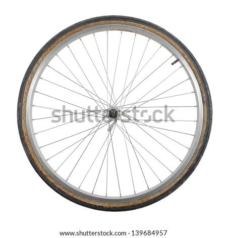 Bicycle wheel isolated on white background #139684957