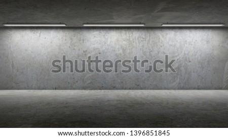 Concrete room grunge wall. 3D Render #1396851845
