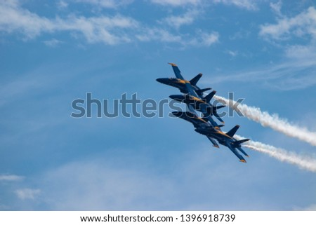 Navy Blue Angels formation with smoke #1396918739