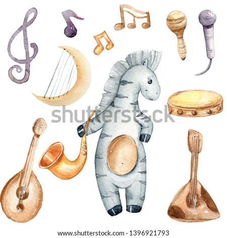 Musical instruments and cartoon zebra watercolor set. Hand painted illustration on white background.