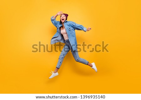 Full length body size view photo funny funky youngster person fool spring summer enjoy rejoice amazed surprised joke scream shout speed hurry motion wear trendy clothes cap isolated vivid background #1396935140