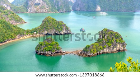 Beautiful landscape Halong Bay view from adove the Ti Top Island. Halong Bay is the UNESCO World Heritage Site, it is a beautiful natural wonder in northern Vietnam Royalty-Free Stock Photo #1397018666